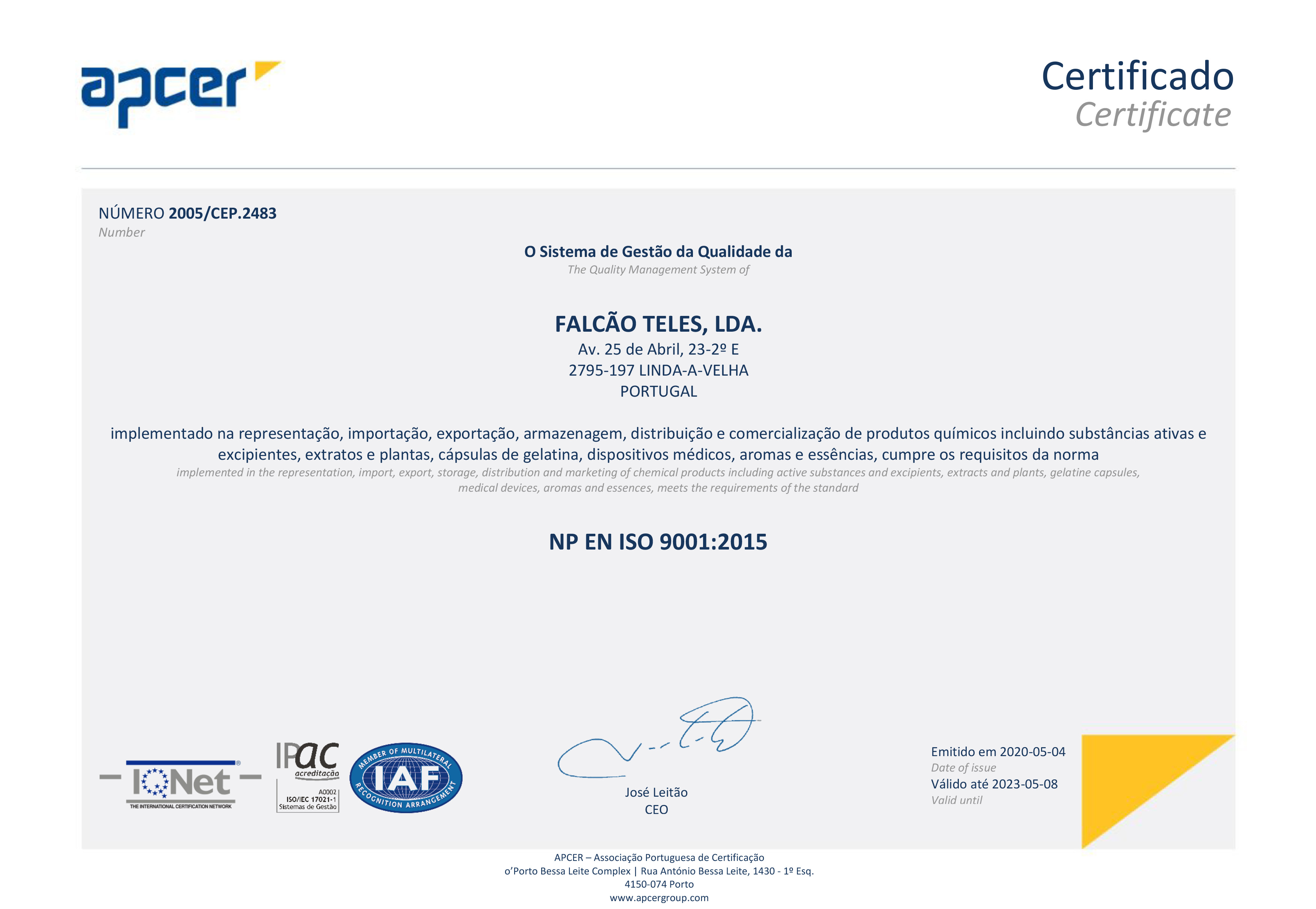 Certificado Apcer